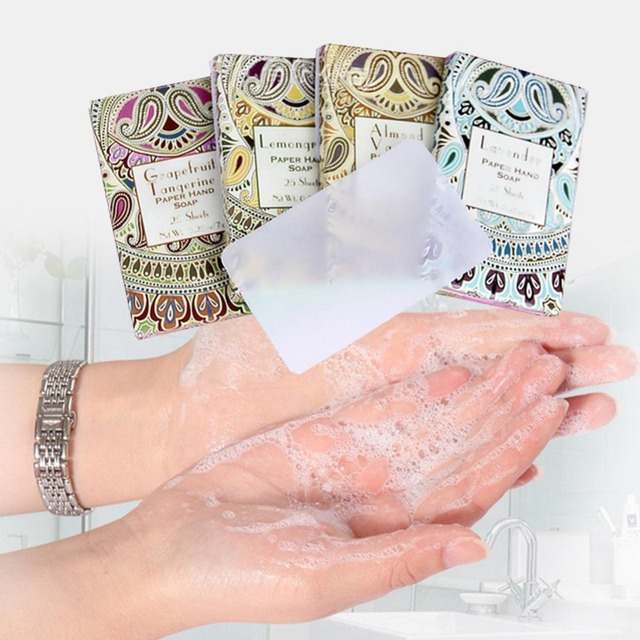 25pcs/Box Outdoor Travel Soap Paper Washing Hand Bath Clean Scented Slice Sheets Disposable Boxe Soap Portable Mini Paper Soap 2