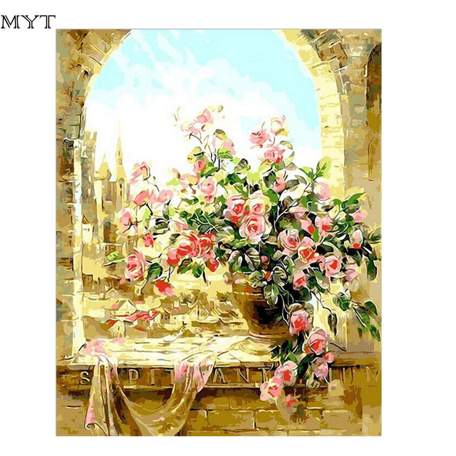 MYT Flower On Window Hand Painted Oil Painting Modern Wall Art ...