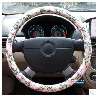 swc070 artificial leather car steerign wheel cover with 38cm printing flowers universal for steering wheel wheels cover