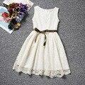 2016 3-10 años del niño Vitage muchachas de flor del cordón vestidos eventos vestidos de princesa Tutu Dress Party para el bebé cumpleaños de la muchacha Bow Blet
