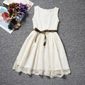 2016 3-10 years toddler Vitage Flower Girls Lace Dresses Events Princess Tutu Party Dress For baby girl birthday Bow Blet