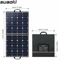 Suaoki В 100 Вт 18 В в 12 В панели солнечные зарядное устройство SunPower Cell портативный складной с двойной выход В 5 В/2A 18 В в/5A для смартфонов ноутбуки
