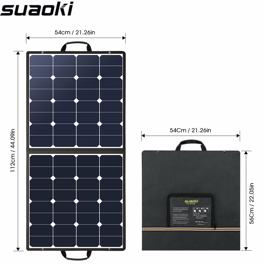 Suaoki 100W 18V 12V Solar Panel Charger SunPower Cell Portable Foldable with Dual Output 5V/2A 18V/5A for Smartphones Laptops