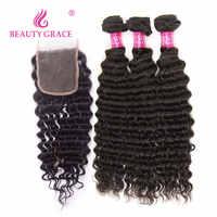 Beauty Grace Braziliaanse Hair Weave Bundels Met Sluiting Midden/Drie Niet Remy Human Hair Extension Diepe Golf Bundels Met sluiting