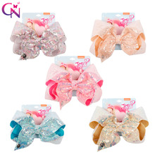 CN Hair Accessories 8 Inch Jumbo Sequin Bows Kids Clip for Girls Handmade Shiny Candy Color Hairgrips