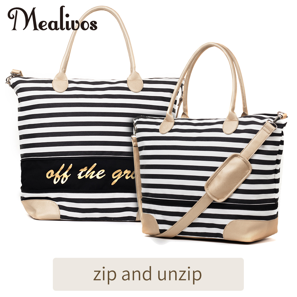 Mealivos 2017 Fashion Black Stripe y Gold Canvas Weekender Tote Bag - Bolsas para equipaje y viajes