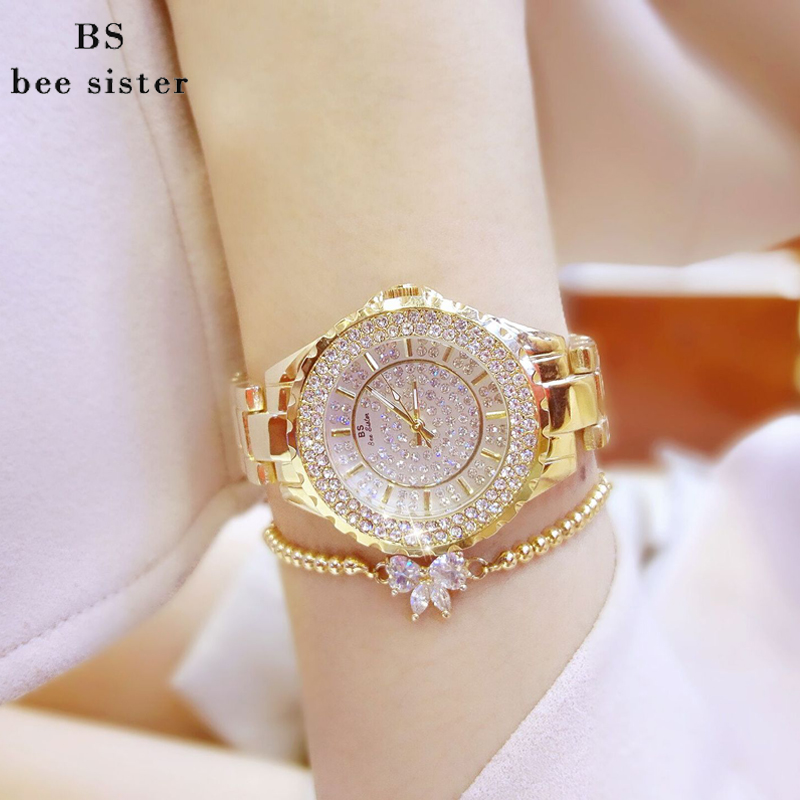 BS Brand Women Bracelet Watches Fashion Luxury Lady Rhinestone Wristwatch Ladies Crystal Dress Quartz Watch Clock Montre Femme luxury fashion golden quartz watches square casual lady women party dinner bracelet bangle dress watch montre femme