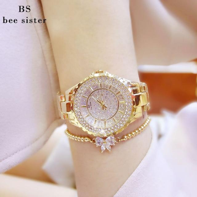 BS Брендовые женские часы браслет Роскошные модные леди горный хрусталь наручные женские Кристалл платье кварцевые часы Montre Femme