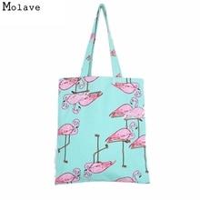Наивность Новый хлопковый холст Для женщин Фламинго печати сумка Хозяйственные сумки TRAVEL Tote Bolso de compras 11S61006