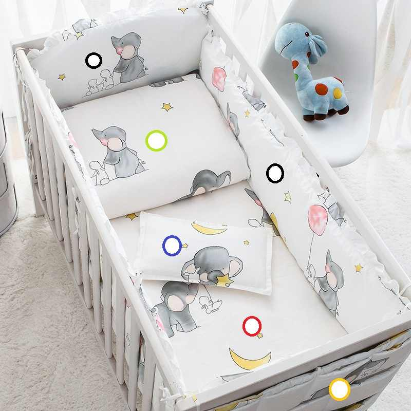 Cotton Soft Baby Bedding Sets Gray Elephant Baby Crib Bed bumper Include Pillowcase/ Sheet/Quilt Cover/Bumpers Baby Room Decor