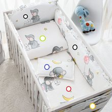 Cotton Soft Baby Bedding Sets Gray Elephant Baby Crib Bed bumper Include Pillowcase/ Sheet/Quilt Cover/Bumpers Baby Room Decor(China)