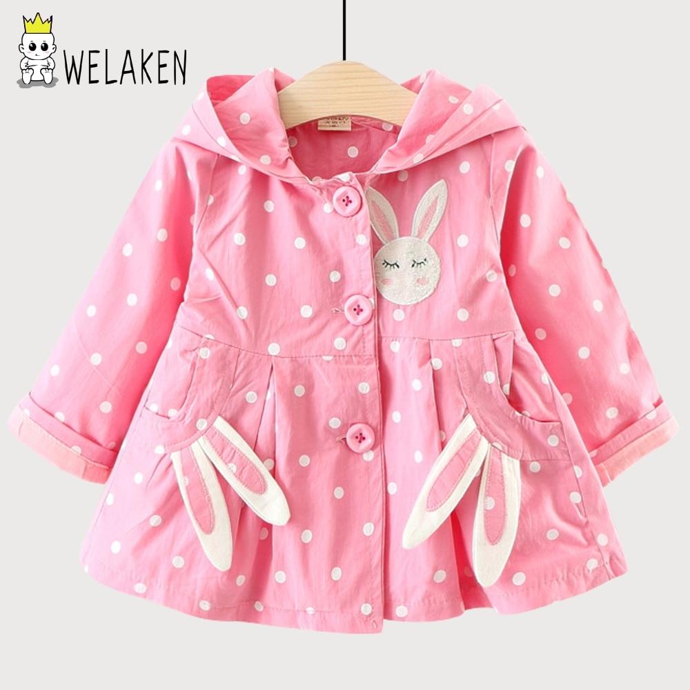 weLaken 2018 New Spring Arrival Baby Girls Coat Cute Rabbit Ear Pocket Hooded Ki