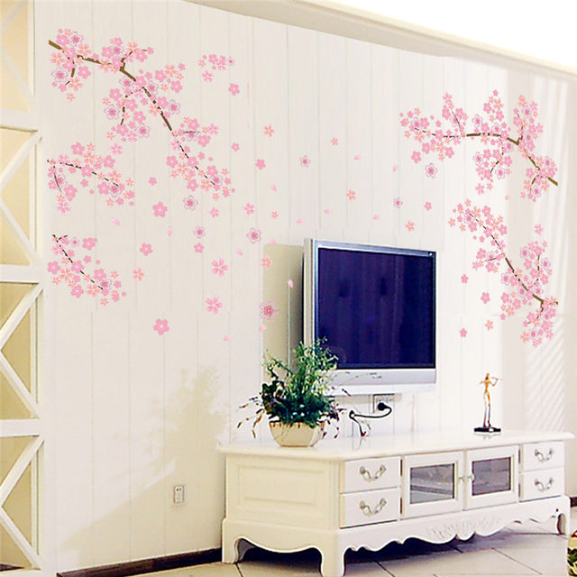 DIY Romantic Pink Plum Flower Tree Wall Sticker Living Room Bedroom Wall  Decal TV Sofa Background Home Decor Mural Wallpaper