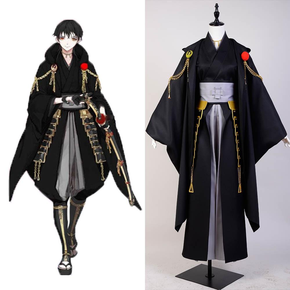Cosplay Touken Ranbu Online Cosplay Tsurumaru Kuninaga Costume Black Full Set Samurai Kimono Halloween Carnival costume