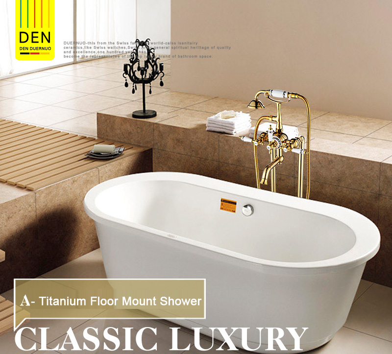 Us 312 0 22 Off Luxury Modern Freestanding Dual Cross Handles Bathtub Faucet Tub Filler Gold Color Golden Finish Floor Mount Hot And Cold Water In