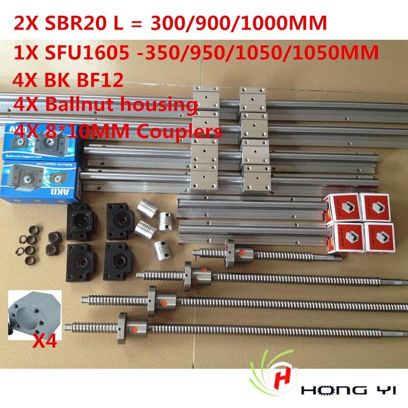 2pcs linear guide SBR20 L= 300/900/1000MM+4pcs Ballscrew SFU/RM1605+4 pcs BK12 BF12+4pcs 8*10 Couplings+4PCS ballnut housing 6 x hiwin hgh15 square linear guide sets 5 x sfu rm1605 ballscrew sets bk bf12 couplings