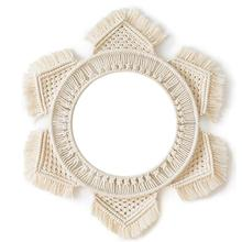1Pc Nordic Hanging Wall Mirror With Macrame Fringe Cotton Rope Round Decor For Apartment Living Room Bedroom Baby Nursery