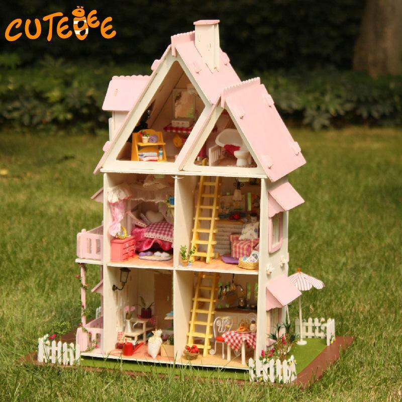 Hot Sale DIY Doll House Trä Miniatura Dollhouse Miniatyr Doll House - Dockor och tillbehör - Foto 5