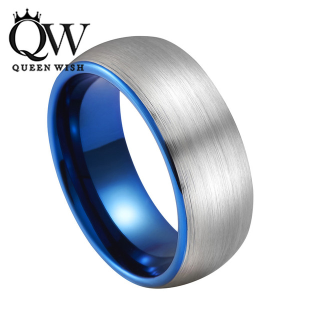 Queenwish New Arrivals 8mm Dome Band Tungsten Ring With Brushed And Blue Plated Mens Wedding Bands
