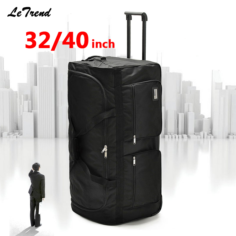 Letrend Super Light Rolling Luggage Ultra-large Capacity 32/40inch Travel Bag Men Trolley Soft Oxford Men Student Trunk Suitcase