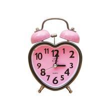 Heart Shape Double Bell Alarm Clock No Ticking Twin Bell Alarm Clock with Nightlight for Kids Girls Bedrooms (Pink)