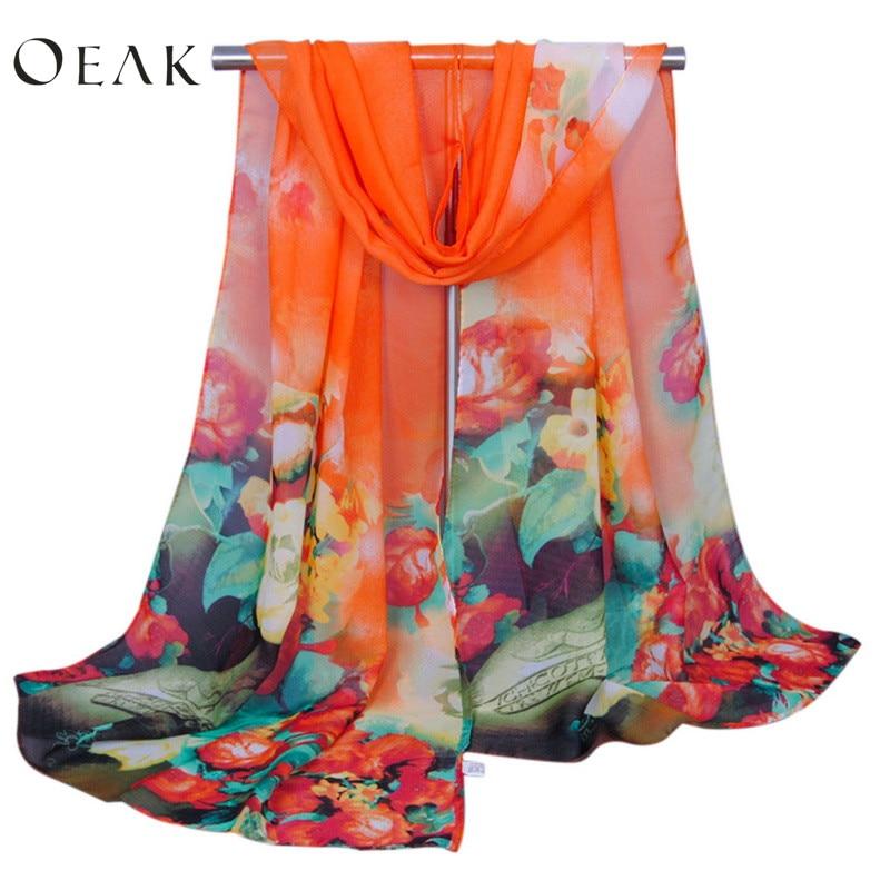 Oeak Long Chiffon Scarves Wraps Women Fashion New Design Lightweight Flowers Printed Sunscreen Floral Head Shawl Scarves