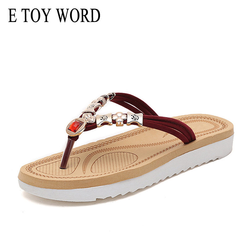 Women's Shoes Nice E Toy Word 2018 Summer Slippers Fashion Metal Beach Shoes Women Water Drill Flip Flops Platform Flat Shoes For Ladies To Prevent And Cure Diseases