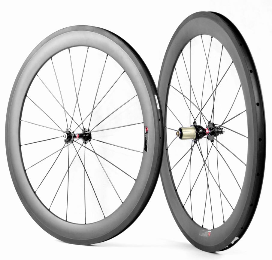 700c 60mm clincher carbon road bike wheelset for Shimano Sram or Campagnolo decals