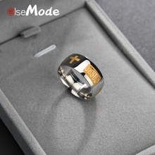 Кольцо ELSEMODE 8 мм из титановой стали с христианским Иисусом и надписью, Золотое кольцо для помолвки, обручальные кольца для мужчин и женщин