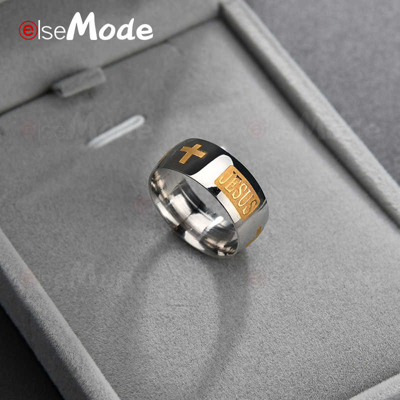 ELSEMODE 8mm Titanium Steel Christian JESUS Letter Prayer Ring Shine Gold Color Engagement Wedding Rings For Men Women Finger