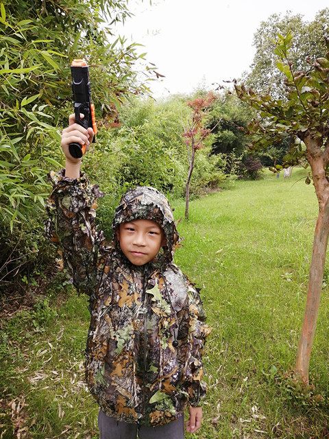 Children's new 3D leaf camouflage suit Geely suit Bird watching suit Shooting camouflage Hunting clothes and pants 3