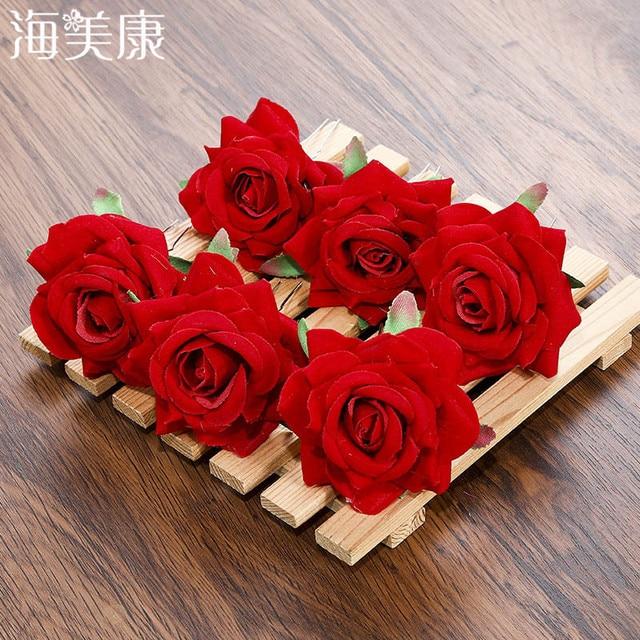 Haimeikang Bridal Red Rose Wedding Hair Accessories Flower 3pcs Lot
