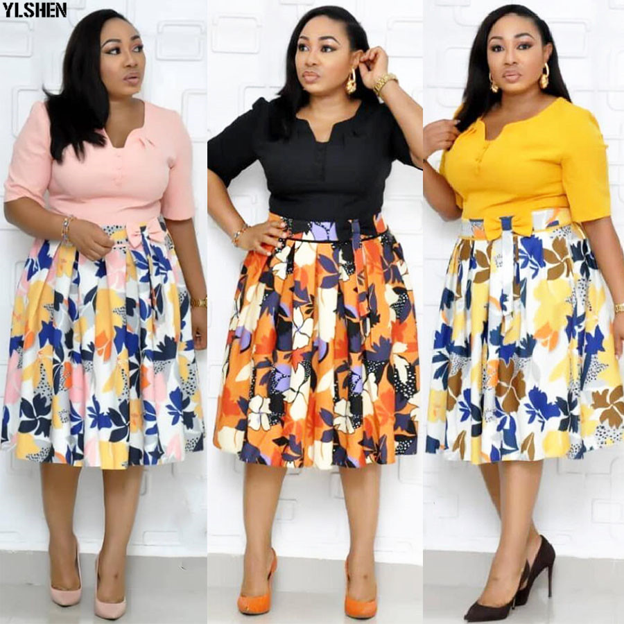 African Dresses For Women 2019 New Dashiki Print African Clothes High Quality Bazin Riche Big Pendulum Skirt Bow Africa Dress