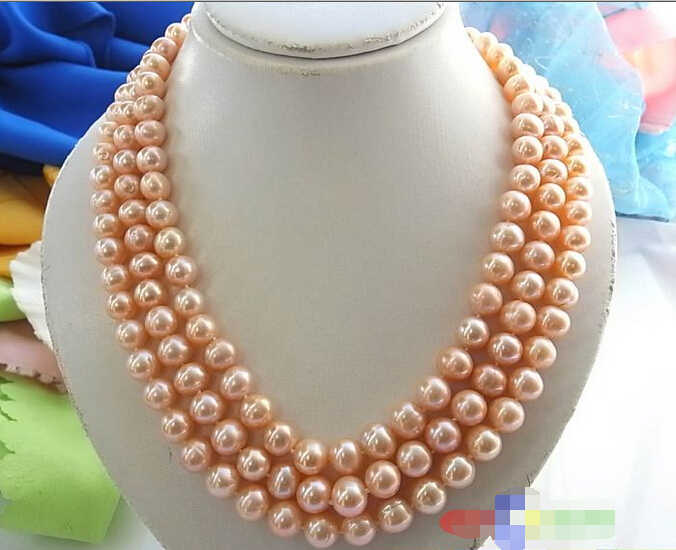 Free shipping@@@@@ 3ROW 11MM PINK ROUND FRESHWATER CULTURED PEARL NECKLACE SHELL p848 цена и фото