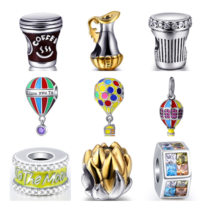 New Arrival 925 Sterling Silver charms The balloon coffee cup flowers I love you Bead jewelry Fits Authentic Pandora Bracelet new arrival background fundo hydrant balloon flowers 600cm 300cm width backgrounds lk 2982