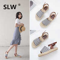 Low Sandals Woman Leather Fashion Womens Shoes 2019 Summer Heels All Match Soft Suit Female Beige Low heeled Luxury Ladies