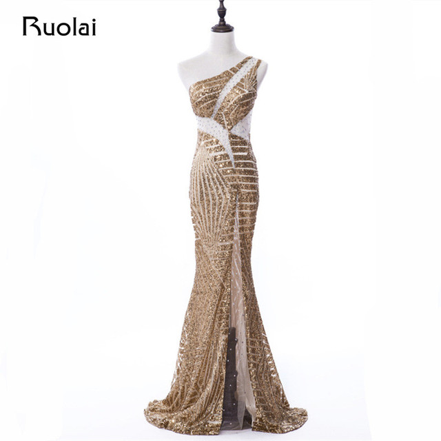 c225a6f0ff165 Real Picture Gold Sequined Mermaid One Shoulder Evening Dresses Sexy Long Prom  Dress Tulle Top Vestido de Fiesta ASAE62