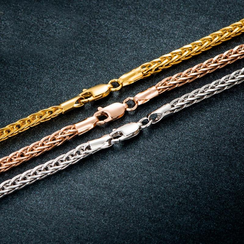 70cm Pure AU750 Gold Necklace Chain Men's Heavy Gold Wheat Link Chain Necklace 45cm l pure rose gold chain necklace italy wheat chain necklace 4g hot sale