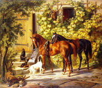 Perfect Oil painting Albrecht Adam Horses at the Porch with dogs in landscape