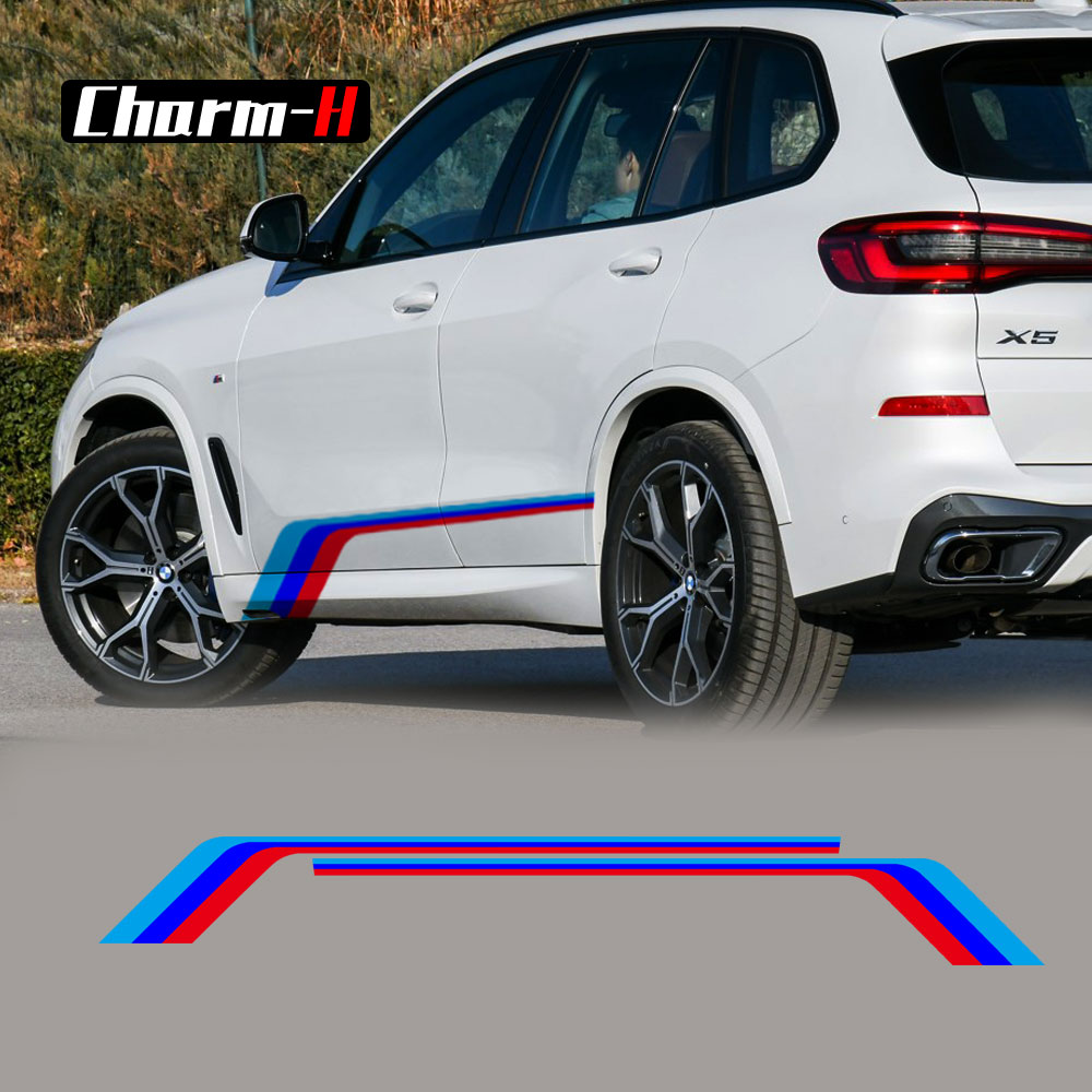 2X Tricolor Performance Side Stripe Skirt Sticker Decal For BMW X3 F25 G01 X4 F26 G02 X5 M F15 F85 X6 F16 F86 Accessories