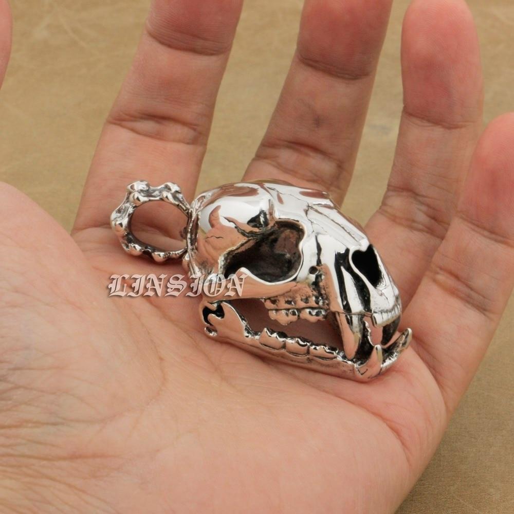 925 Sterling Silver Ogroman težak tenk Fang Tiger Lion King Lubanja - Modni nakit - Foto 2