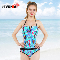 MAMAMIA Bikini Women One Piece Swimsuit Girls Sexy Colored Bird And Flower Pattern Colourful Strapless Stripes
