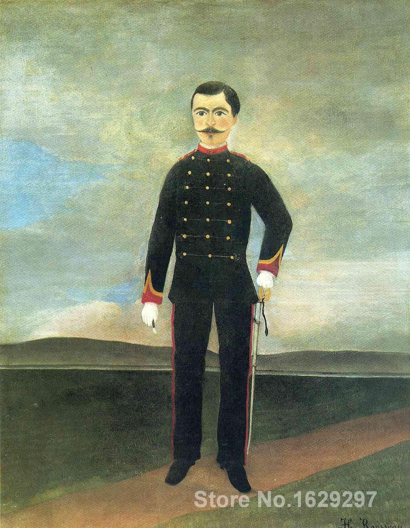 Art à vendre maréchal des Logis Frumence Biche de la 35th artillerie d'henri Rousseau toile fait main de haute qualité