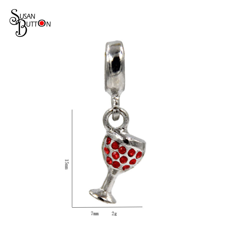 DIY Jewelry Making Fit European Charm Bracelet Bangle Fashion Jewelry Silver Plated Red Crystal Wine Cup Dangle Beads Charms