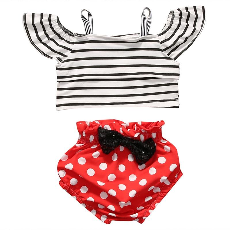 2PCS Set! Newborn Toddler Baby Girls Outfits Clothes Striped Ruffle Sleeve Tops+ polka dot Bowknot Short Clothing Sets