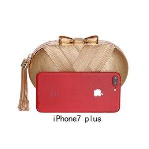 Image 4 - Pochette da giorno da donna in metallo con fiocco SEKUSA nappa borse da sera da donna di lusso di lusso borsa da spalla a catena da sposa piccola festa