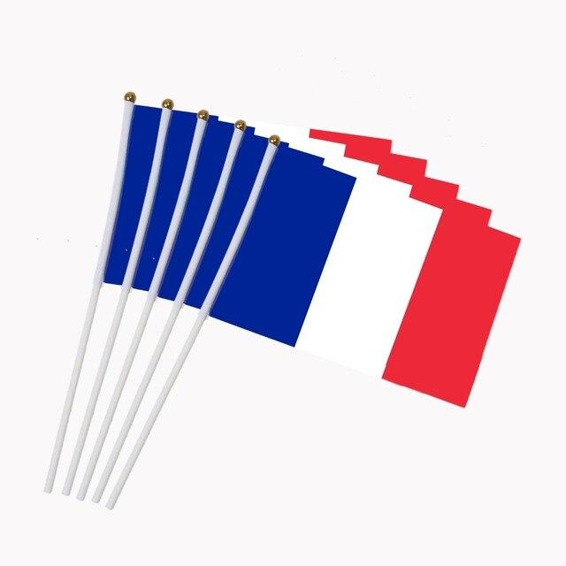 14x21 Cm 5 Pz La Bandiera Francese A Mano Sventolando Bandiere Con