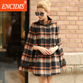 Cloaks Medium-long Winter woolen Coat Women Plaid Turtleneck Wool Coat Women's Winter Jacket 2016 New Female Jackets F201