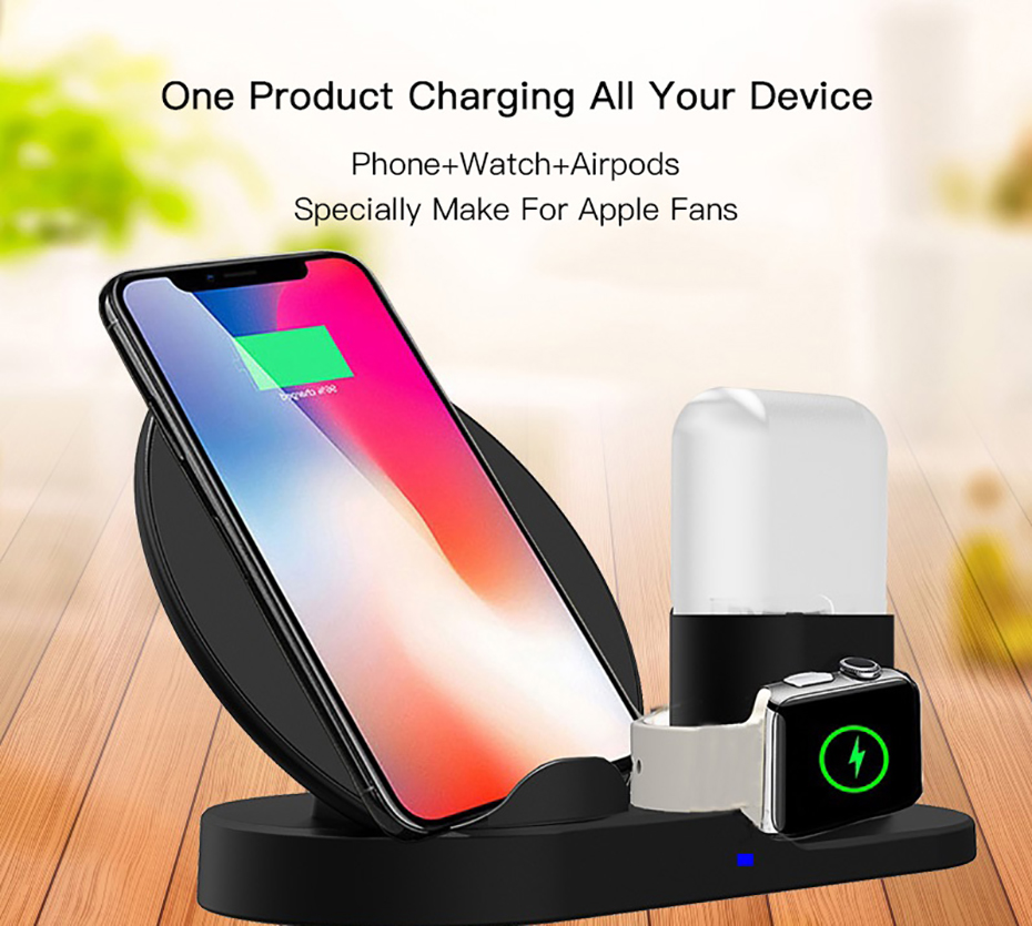 Fast Charge Wireless Charger For Iphone XS XR XS Max 3 In 1 Wireless Charger Dock Station For Apple Watch Series 1 2 3 4 Airpods (8)