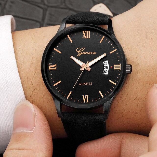 Geneva Men's Watch Luxury Military Men's Date Stainless Steel Leather Analog Qua